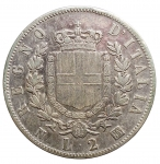 R/ Casa Savoia -Vittorio Emanuele II (1861-1878).2 lire 1863 N. StemmaPag. 506.AG.BB-BB+