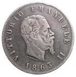 D/ Casa Savoia -Vittorio Emanuele II (1861-1878).2 lire 1863 N. StemmaPag. 506.AG. Colpettino. Bel BB+. Patina