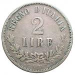 D/ Casa Savoia -Vittorio Emanuele II (1861-1878).2 lire 1863 Napoli. Valore. Gig 58.AG. Colpetti. MB-BB. Non comune
