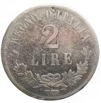 D/ Casa Savoia -Vittorio Emanuele II (1861-1878).2 lire 1863 Torino. Valore. Gig 59.AG. Colpetti. MB+. Raro
