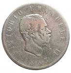 R/ Casa Savoia -Vittorio Emanuele II (1861-1878).2 lire 1863 Torino. Valore. Gig 59.AG. Colpetti. MB+. Raro