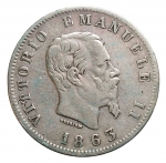 R/ Casa Savoia -Vittorio Emanuele II (1861-1878). 1 lira 1863 Torino. Stemma. Gig 65.AG. BB+/BB-SPL. Non comune. Patina