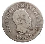 D/ Casa Savoia - Vittorio Emanuele II.50 Centesimi Stemma 1861 Firenze. Gig 70. Imperfezioni. MB. Molto Raro
