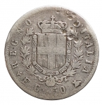 R/ Casa Savoia - Vittorio Emanuele II.50 Centesimi Stemma 1861 Firenze. Gig 70. Imperfezioni. MB. Molto Raro