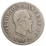 D/ Casa Savoia - Vittorio Emanuele II.50 Centesimi Stemma 1862 Napoli. Gig 72. MB+/MB-qBB. Raro