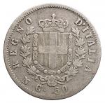 R/ Casa Savoia - Vittorio Emanuele II.50 Centesimi Stemma 1862 Napoli. Gig 72. MB+/MB-qBB. Raro