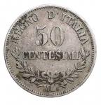 D/ Casa Savoia - Vittorio Emanuele II.50 Centesimi Valore 1863 Milano. qBB. Patina