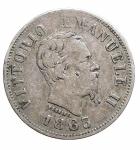 R/ Casa Savoia - Vittorio Emanuele II.50 Centesimi Valore 1863 Milano. qBB. Patina