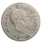 D/ Casa Savoia - Vittorio Emanuele II.50 Centesimi Valore 1863 Torino. Gig 78. Colpetti. MB-qBB
