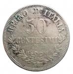R/ Casa Savoia - Vittorio Emanuele II.50 Centesimi Valore 1863 Torino. Gig 78. Colpetti. MB-qBB