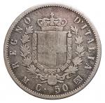 D/ Casa Savoia - Vittorio Emanuele II.50 Centesimi Stemma 1863 Milano. Gig 74. MB+. Raro