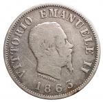 R/ Casa Savoia - Vittorio Emanuele II.50 Centesimi Stemma 1863 Milano. Gig 74. MB+. Raro