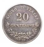 D/ Casa Savoia - Vittorio Emanuele II. 1861-1878.20 Centesimi 1863 Torino Valore. Ag. Gig. 85. BB++. Patina