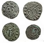 D/ Lotti - Manfredonia, Messina o Brindisi. Interessante insieme di 4 denari in MI  - Federico II (Re di Sicilia, 1198-1250; Re di Germania, 1212-1220; Imperatore, 1220-1250), Denaro, Messina o Brindisi, 1244; BI (g 0,82; mm 16,66); + F ROM IMP SEP AVG, aquila coronata frontale, Rv. + R IERSL' ET SICIL, croce potenziata. Spahr 130; MEC XIV, 559 bis; Travaini 37. Patina verde intenso, BB-SPL  - Federico II (Re di Sicilia, 1198-1250; Re di Germania, 1212-1220; Imperatore, 1220-1250), Denaro, Messina o Brindisi, 1249; BI (g 0,69; mm 16x16,6); + ROM INPERATOR, nel campo, F con tre stelle, Rv. + R IERSL ET SICIL, croce con quattro stelle. Spahr 148; MEC XIV, 570-571; Travaini 48. Patina verde, BB+  - Manfredonia. Manfredi. 1258-1266. Denaro con M gotica. Peso gr. 0,53. Diametro mm. 15,4. BB++.  - Messina o Brindisi, Carlo I d'Angiò (1266-1285), Denaro, 1266-1282; BI (g 0,51; mm 13,13). d/ + DEI GRA REX SICILIE, nel campo, crescente sormontato da un giglio. r/+ DVC APVL'ET PRIC CAP, croce gigliata. Spahr 47; Biaggi 497. BB+. Il simbolo del giglio al di sopra della luna falcata allude alla vittoria del re sugli infedeli. Secondo gli studiosi, questo tipo comparve al ritorno di Carlo I a Messina dopo la spedizione contro Tunisi.