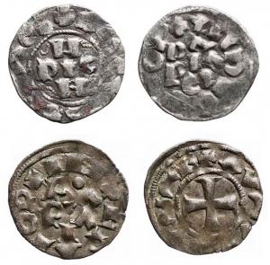 D/ Lotti - PAVIA. Lotto di 2 esemplari. Ag Enrico II di Franconia (1046-1056). Denaro. B. 1833. gr 1,22. AG. BB. Comune (1250-1359). Mezzano. MIR 844. MI. g. 0.62 BB+ Intonso. patina