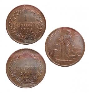 D/ Lotti. Casa Savoia. Vittorio Emanuele III. 1 Centesimo 1904 FDC rosso. 1 Centesimo 1904 FDC. 1 centesimo 1914 FDC. Insieme di 3 esemplari in Cu
