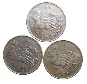 D/ Lotti. Repubblica Italiana. 3 pezzi da 500 lire ag 1961.