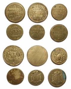 D/ Lotti - Insieme di 6 pesi monetali secoli XVIII e XIX