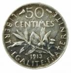 R/ Monete Estere. Francia. 1913. 50 Centesimi.BB+.