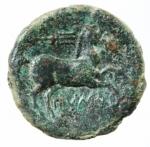 R/ Mondo Greco. Apulia. Salapia. 300-225 a.C. Bronzo. D/ Testa laureata di Apollo verso destra. R/ Cavallo verso destra sopra tridente. SNG ANS 733. Peso 8.90 gr. Diametro 23,57 mm. BB+.