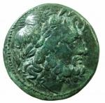 D/ Mondo Greco. Bruttium. I Bretti. 215-205 a.C. Oncia. AE. D/ Testa di Zeus a destra. R/ Aquila stante a sinistra su fulmine. SNG ANS 3. Peso gr. 6,20 Diametro 21,00 mm. Bel BB+.