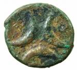R/ Mondo Greco. Bruttium. Crotone. ca 320 a.C. Triemiobolo ridotto. AE. D/ Testa di Persephone a destra. R/ Tre crescenti. SNG Cop. 1825. Peso 7,40 gr. Diametro 23,00 mm. BB. RR.