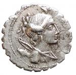 D/ Repubblica Romana -Gens Postumia.Aulus Postumius. 81 a.C. Denario. D/ Busto di Diana a destra con arco e faretra sulla spalla. R/ A. POST. A.F.S.N.ALBIN (Aulus Postumius, Auli filius, Spurii nepos, Albinus) Un addetto ai sacrifici vicino ad un altare asperge con un ramoscello un toro destinato al sacrificio. Cr. 372/1.Peso 3,7 gr. Diametro19,8 mm. BB-qSPL/BB+.
