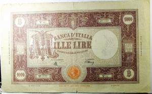 D/ Cartamoneta. Casa Savoia. 1000 lire. 10/8/1943. A. Serie W 44. BB.R.s.v