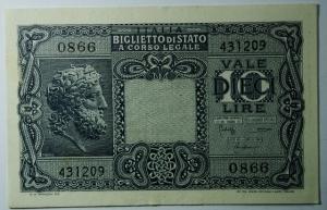 D/ Cartamoneta. Casa Savoia. Vittorio Emanuele III. 10 lire Giove. 23-11-1944. Bolaffi Cavallaro Giovinco. Gig BS 19C. SPL.