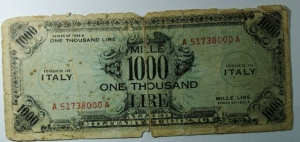 D/ Cartamoneta. 1000 Lire AM. FALSO d' EPOCA.MB.