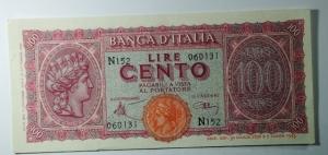 D/ Cartamoneta. Luogotenenza. 100 Lire Italia Turrita. Decreto 10-12-1944. Serie N 152 060131. Introna - Urbini. qSPL.
