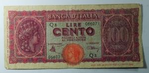 D/ Cartamoneta. Luogotenenza. 100 lire. Italia turrita. FALSO d' EPOCA.MB+.