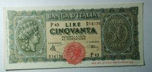 D/ Cartamoneta. Luogotenenza. 50 lire 'Italia turrita', 10/12/1944. A. PI 43 014136.qSPL.