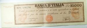 D/ Cartamoneta. Banca d 'Italia.10.000 Lire Titolo Provvisorio (Medusa). FN 3467754. Einaudi Urbini.Buon BB. R.