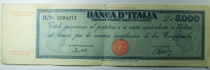 D/ Cartamoneta. Banca d 'Italia. 5000 Lire. Titolo Provvisorio (Medusa). HN 2898171. Buon BB. R.