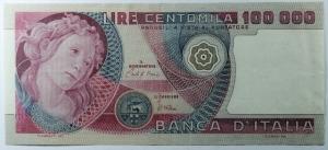 D/ Cartamoneta. Repubblica Italiana. 100.000 lire Primavera di Botticelli. Decreto 1 luglio 1980. Ciampi-Stevani. SPL.s.v