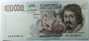 D/ Cartamoneta. Repubblica Italiana. 100000 lire Caravaggio. Ciampi Stevani.BB+.s.v