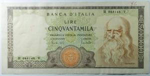 D/ Cartamoneta. Repubblica Italiana. 50.000 Lire. Leonardo. BB+.Ottima Conservazione.s.v