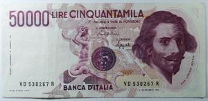D/ Cartamoneta. Repubblica Italiana. 50.000 lire Bernini. BB+.s.v