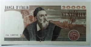D/ Cartamoneta. Repubblica Italiana. 20.000 lire Tiziano. Decreto 21-02-1975. Carli-Barbarito. BB+.s.v