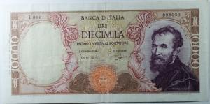 D/ Cartamoneta. Repubblica Italiana. 10000 lire Michelangelo. Carli Ripa 3/7/1962. qSPL.Ottimo stato di Conservazione.s.v