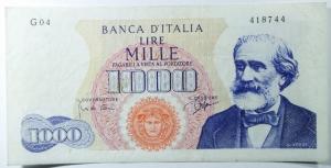 D/ Cartamoneta. Repubblica Italiana. 1.000 lire Giuseppe Verdi. Decreto 14-07-1962. Carli-Ripa. BB+.s.v