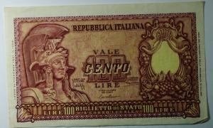 D/ Cartamoneta. Repubblica Italiana. 100 lire 'Italia elmata', 31/12/1951. Bolaffi, Cavallaro,Giovinco A. Bs 24 b. qSPL.