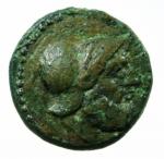 D/ Mondo Greco. Bruttium. Petelia. 214-204 a.C. Bronzo. D/ Testa elmata e barbuta di Ares. R/ Nike andante verso sinistra regge una corona. ANS n.607. Peso 3,55 gr. Diametro 16,56 mm. qSPL/BB+. Patina Verde.