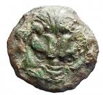 D/ Mondo Greco -Bruttium. Rhegium.ca. 425-415 a.C.AE.D/ Testa di leone di fronte.R/ PH entro due foglie di ramoscello d'olivo.Cfr. SNG ANS 680.Pesogr. 3,58. Diametro mm.16,0.BB+.Patina verde.