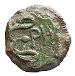 R/ Mondo Greco -Bruttium. Rhegium.ca. 425-415 a.C.AE.D/ Testa di leone di fronte.R/ PH entro due foglie di ramoscello d'olivo.Cfr. SNG ANS 680.Pesogr. 3,58. Diametro mm.16,0.BB+.Patina verde.