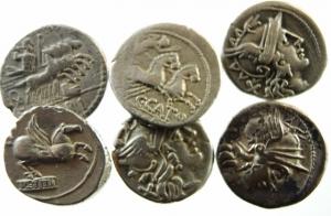 D/ Lotti. Repubblica Romana. Lotto di 6 denari Repubblicani. ex Tintinna 53, mediamente BB.