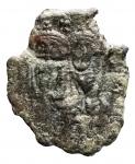 D/ Bizantini - Eraclio, con Eraclio Costantino. 610-641 d.C. Follis. AE. Siracusa. ca 630-637 d.C. D/ Busti coronati di Eraclio ed Eraclio Costantino; in alto croce. R/ Monogrammi e contromarche. Peeso 6,12 gr. BB. Patina verde.