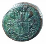 D/ Bizantini. Costante II. 641-668 d.C. Decanummo. AE. D/ Busto frontale di Costante con lunghi baffi e barba. R\ ANNO I grande I. Peso 5,60 gr. Diametro 15,00 mm. BB+. RR. po