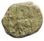 R/ Bizantini -Costantino V. 741-775 d.C.Follis. AE.Siracusa.D/ I busti frontali di Costantino V e Leone IV.R/ Il busto frontale di Leone III.D.O. 19.Peso gr. 2.68.BB. Patina verde chiaro.